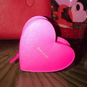 Kate Spade Leather Zippered Red Pink Heart Wallet